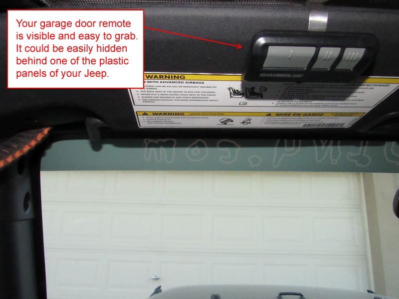Jeep JK hidden garage door remote